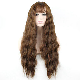 Synthetic Wig Wavy Wavy With Bangs Monofilament L Part Wig Long Brown Synthetic Hair Women's Brown