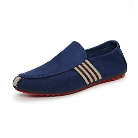 Men's Loafers  Slip-Ons Comfort Shoes Casual Daily Outdoor Walking Shoes Suede Wear Proof Black / Dark Blue Striped Summer / Fall / EU42