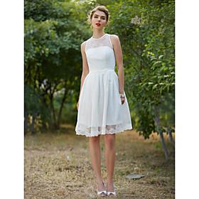 A-Line Wedding Dresses Jewel Neck Knee Length Lace Sleeveless Little White Dress with Sash / Ribbon Draping 2020