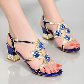 Women's Sandals Leather Sandals Summer Flare Heel Open Toe Casual Sweet Daily Party  Evening Rhinestone Floral PU Purple / Gold / Blue / EU40