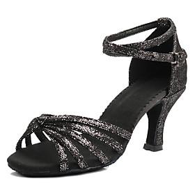 Women's Dance Shoes Latin Shoes / Ballroom Shoes / Salsa Shoes Heel Buckle Customized Heel Customizable Black / Gold / Black / Silver / Dark Brown / Performanc