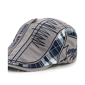 Men's Active Cotton Beret Hat-Patchwork Blue Beige Gray
