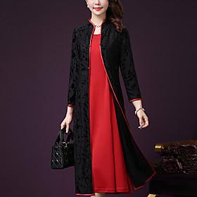 Women's Plus Size Midi Dress A-Line Dress - Long Sleeve Color Block Lace Summer Fall Stand Daily Loose Purple Red M L XL XXL XXXL XXXXL XXXXXL