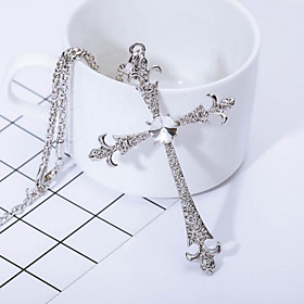 Men's Synthetic Diamond Pendant Necklace Cross Cross Chrome Silver Necklace Jewelry For Gift Daily Casual