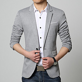 Men's V Neck Blazer Regular Solid Colored Daily Work Plus Size Spring Fall Long Sleeve Black / Blue / Gray M / L / XL