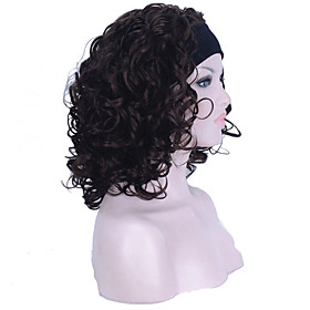 Synthetic Wig Curly Curly Wig Medium Length Chestnut Brown Synthetic Hair Women's Brown StrongBeauty