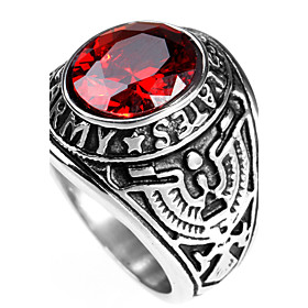 Men's Statement Ring Ring Sapphire Black Red Green Titanium Steel Personalized Punk Rock Christmas Gifts Party Jewelry Solitaire Round Cut High School Rings Cl
