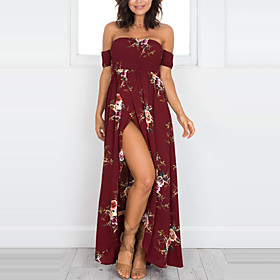 Women's Maxi long Dress Sheath Dress - Short Sleeve Floral Print Summer Fall Strapless Holiday Beach Off Shoulder Wine White Khaki S M L XL