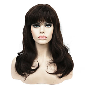 Synthetic Wig Wavy Wavy With Bangs Wig Long Chestnut Brown Synthetic Hair Women's Middle Part Brown StrongBeauty