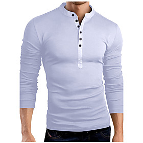 Men's Birthday T-shirt Graphic Solid Colored Long Sleeve Slim Tops Cotton Basic Stand Collar White Black Army Green / Spring / Fall