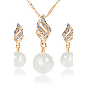 Women's Jewelry Set Pendant Necklace / Earrings Infinity Ladies Luxury Dangling Pearl Fashion Elegant Crystal Imitation Pearl Rhinestone Earrings Jewelry Gold