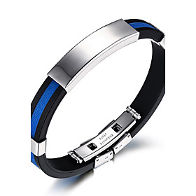 Men's ID Bracelet Rock Fashion Hip-Hop Silicone Bracelet Jewelry White / Red / Blue For Birthday Gift Sports / Titanium Steel