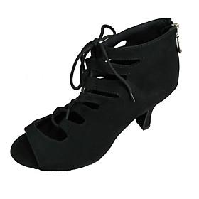 Women's Dance Shoes Latin Shoes / Ballroom Shoes / Line Dance Sandal Customized Heel Customizable Black / Red / Dark Blue / Indoor / EU42