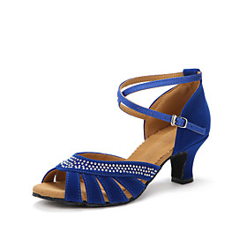 Women's Latin Shoes Heel Customized Heel Rhinestone Black / Red / Blue / Indoor / Leather / EU41