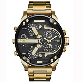 Men's Sport Watch Military Watch Wrist Watch Quartz Luxury Calendar / date / day Analog Black / Gold Rose Gold Black / # / # / Two Years / Dual Time Zones / La