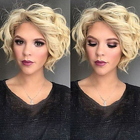 Synthetic Wig Wavy Scarlett Wavy With Bangs Wig Blonde Short Blonde Synthetic Hair Women's Side Part Blonde