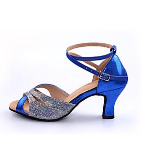 Women's Latin Shoes Heel Customized Heel Splicing Red / Blue / Indoor / Leather / EU42