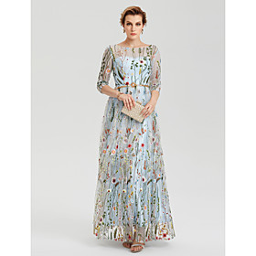 A-Line Empire Blue Party Wear Wedding Guest Dress Illusion Neck 3/4 Length Sleeve Floor Length Lace with Embroidery Appliques 2020 / Illusion Sleeve