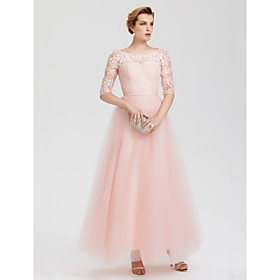 A-Line Elegant Pink Wedding Guest Formal Evening Dress Illusion Neck Floor Length Lace Over Tulle with Lace Insert Appliques 2020 / Illusion Sleeve