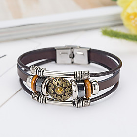 Men's Leather Bracelet Natural Fashion Leather Bracelet Jewelry Brown For Special Occasion Gift Sports