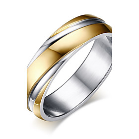 Men's Band Ring Groove Rings Gold Stainless Steel Circle Fashion Wedding Masquerade Jewelry Two tone