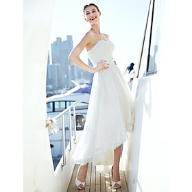 A-Line Wedding Dresses Strapless Asymmetrical Tulle Strapless Casual Beach Little White Dress Backless with Sash / Ribbon Ruched Beading 2020