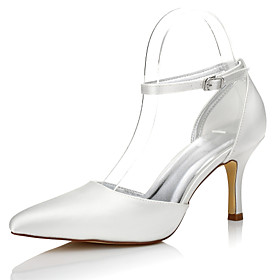 Women's Wedding Shoes Dyeable Wedding Shoes Stiletto Heel Pointed Toe Buckle Silk Comfort Fall / Winter Ivory / Party  Evening / EU39