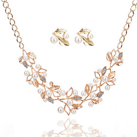 Women's Jewelry Set Pendant Necklace / Earrings Leaf Ladies Luxury Dangling Pearl Fashion Bridal Crystal Imitation Pearl Rhinestone Earrings Jewelry Gold / Sil