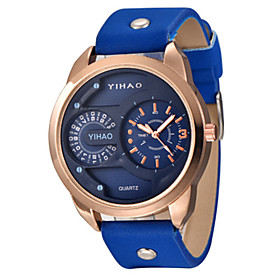 Men's Sport Watch Fashion Watch Quartz Analog Black Gold / Leather