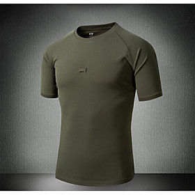 Men's Camo Hiking Tee shirt Outdoor Breathable Quick Dry Sweat-Wicking Top Spring Summer Running Hunting Exercise  Fitness Army Green Black