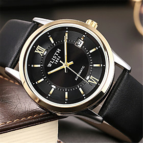 Men's Fashion Watch Quartz Casual Analog White Black / Leather