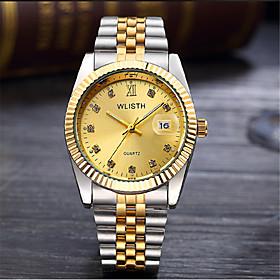 Men's Fashion Watch Quartz Casual Analog White Gold