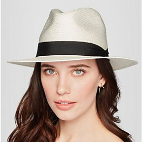 Women's Hat Vintage Classic  Timeless Linen Microfiber Sun Hat-Solid Colored Pure Color Spring Summer White Beige