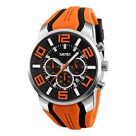 SKMEI Men's Wrist Watch Quartz Charm Fake Three Eyes Six Needles Analog Black Red Blue / Silicone / Two Years / Two Years / Maxell6262025