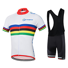 Men's Short Sleeve Cycling Jersey with Bib Shorts Red / White Bike Shorts Jersey Quick Dry Reflective Strips Sweat-wicking Sports Polyester Coolmax Silicon Ho