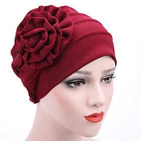 Women's Turban Hat Flower Cotton Floppy Hat-Patchwork Mixed Color Spring   Fall Summer Navy Blue Wine Khaki