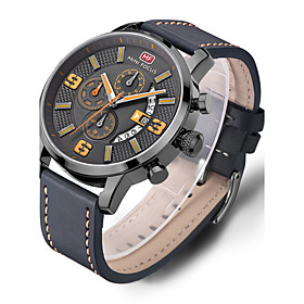 Men's Casual Watch Sport Watch Fashion Watch Quartz Genuine Leather Black Water Resistant / Waterproof Calendar / date / day Creative Analog Luxury Classic Cas