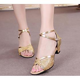 Women's Latin Shoes Heel Paillette Patent Leather Black / Gold / Silver / Practice / EU41