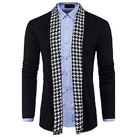 Men's Color Block Cardigan Wool Long Sleeve Regular Sweater Cardigans V Neck Spring Fall Black Gray
