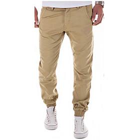 Men's Chinoiserie Dailywear Business Sport Cotton Skinny Slim Sweatpants Pants Solid Colored Pure Color Black Khaki Royal Blue M L XL