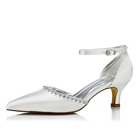 Women's Wedding Shoes Spring / Fall Low Heel Pointed Toe Comfort Wedding Dress Party  Evening Chain / Lace-up Silk Ivory / EU42
