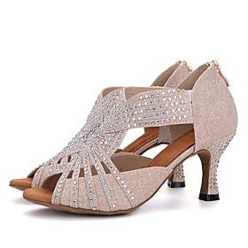 Women's Latin Shoes Sandal Heel Flared Heel Elastic Fabric Rhinestone Buckle Black / White / White / Silver / Pink / Performance / Leather / Salsa Shoes / EU39