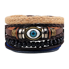 Men's Bead Bracelet Wrap Bracelet Leather Bracelet Rope woven Evil Eye Personalized Punk Wooden Bracelet Jewelry Black For Gift Daily Casual Going out Club