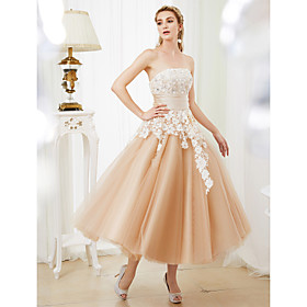 Ball Gown Wedding Dresses Strapless Tea Length Lace Satin Tulle Strapless Romantic Casual Illusion Detail with Sashes / Ribbons Crystals 2020