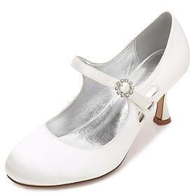 Women's Wedding Shoes Kitten Heel / Low Heel / Stiletto Heel Round Toe Rhinestone / Sparkling Glitter / Ribbon Tie Satin Comfort / Mary Jane / Basic Pump Sprin