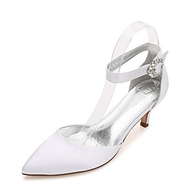 Women's Wedding Shoes Glitter Crystal Sequined Jeweled Kitten Heel / Cone Heel / Low Heel Pointed Toe Rhinestone / Sparkling Glitter / Hollow-out Satin Comfort