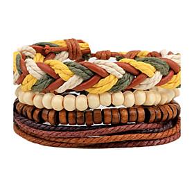 Men's Women's Bead Bracelet Wrap Bracelet Leather Bracelet Rope woven Personalized Bohemian Rock Fashion Wooden Bracelet Jewelry Brown For Daily Casual Street