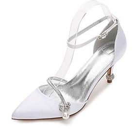 Women's Wedding Shoes Glitter Crystal Sequined Jeweled Cone Heel / Low Heel / Stiletto Heel Pointed Toe Rhinestone / Bowknot / Sparkling Glitter Satin Comfort