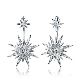 Women's Drop Earrings Ladies Luxury Geometric Classic Simple Style bridesmaid Rhinestone Silver Plated Earrings Jewelry White For Wedding Stage Formal Masquera