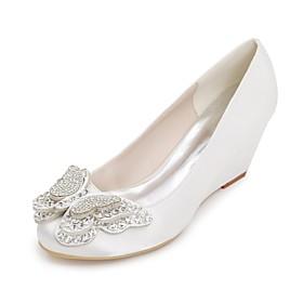 Women's Wedding Shoes Plus Size Wedge Heel Round Toe Basic Pump Wedding Party  Evening Rhinestone Bowknot Satin Summer White / Purple / Red